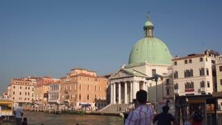 VENICE, ITALY - 14 Sept 2016: Famous Venetian Church - Chiesa San Simeon Piccolo located near the Grand Canal in Venice, Italy