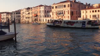 VENICE, ITALY - JUNE 19, 2016: Vaporetto on the Grand Canal in the historic city center of Venice