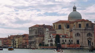 VENICE, ITALY - SEPT 15, 2016: The church of San Geremia on the Grand Canal in Venice, Italy. View of The Scalzi Bridge (Ponte degli Scalzi) from the Grand Canal