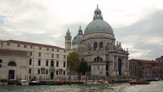 VENICE, ITALY - SEPT 15, 2016: View of Santa Maria della Salute from the Grand Canal (Canale Grande) at Venice (Venezia) Veneto Italy