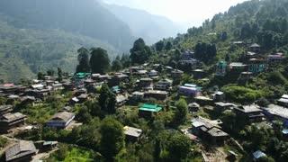 Aerial view of the old Manali village in Kullu valley, Himachal Pradesh, India.