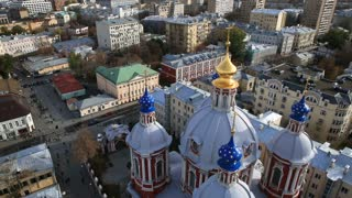 Amazing Moscow temple with five domes. The view from the top.