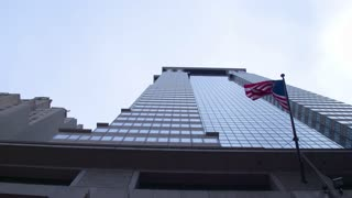 American financial system. Financial District in New York City. Dolly shot.