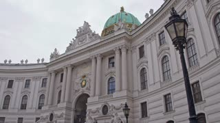 Architectural style of baroque. Palaces and castles of the old city of Vienna. Dolly shot.