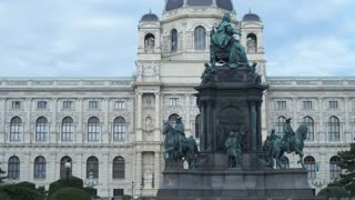 Architectural styles of the Austro-Hungarian Empire. Monument to Empress Maria Theresa, Museum of Natural History in baroque style. Dolly shot.