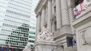 Architecture of lower Manhattan, Wall Street. National Archives of New York in  Roman style building in  Lower Manhattan. Dolly shot .