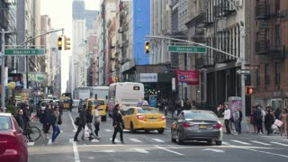 Atmosphere of Manhattan in New York City. Pedestrians cross the street and Avenue. Dolly shot
