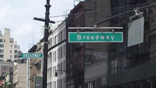 Broadway crossroads  in Manhattan. Sign of Broadway close-up. Dolly shot .