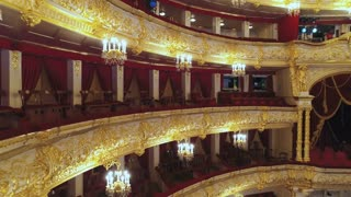 Central and side lodges of the Bolshoi theater in Moscow.