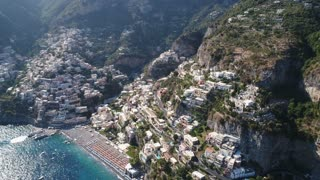 Coastal village on the rocks. the Tyrrhenian sea. The view from the sky.