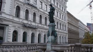 European architectural ensembles. Buildings, fountains, monuments of the city of Vienna. Dolly shot