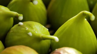 Healthy vegetarian food. Close-ups of fresh figs. Panoramic shooting, macro