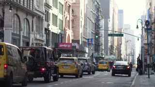 Heavy traffic situation in the center of Manhattan in New York City. Traffic jams ..
