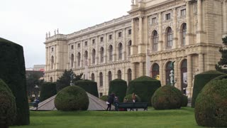 Landscape design, square, palaces of imperial Europe. Square of Maria Theresa in the center of old Vienna, Austria. Dolly shot