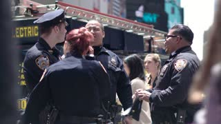 Law and order. Police in New York are following the order in Manhattan, Time Square