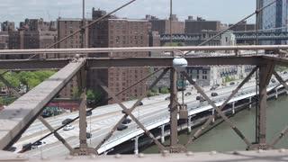 Manhattan transport interchanges in New York. View from the Brooklyn bridge. Dolly shot.