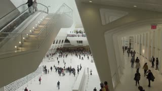 Memorial complex of September 11. Tourists and visitors in the shopping center -Oculus.