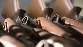 Military warehouse rifles.