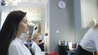 Modern beauty salon. The work of professional makeup artists.