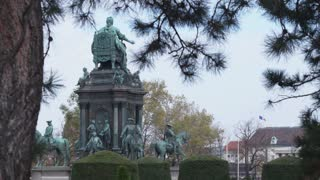 Monuments to emperors symbols of imperial Europe. Vienna is the capital of Austria. Dolly shot.
