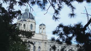 Museums and palaces of old Europe. Dome of the Museum of Natural History in the city of Vienna. Dolly shot.