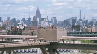 New York, view of Manhattan from Brooklyn Bridge. Dolly shot.