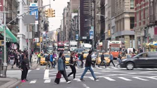 Nyc 20The Atmosphere Of Manhattan. Streets, Avenue, pedestrians, traffic. Dolly shot