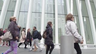 Oculus World Trade Center transportation hub in the center of Manhattan. Steadycam shot