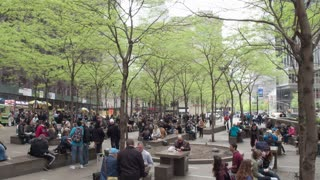 Park Zuccotti after protests by Occupy wall street in the financial district in downtown Manhattan. Dolly shot