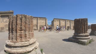 POMPEII, ITALY - 10 JULY 2017: Inspection by tourists ruins Pompei. Italy.