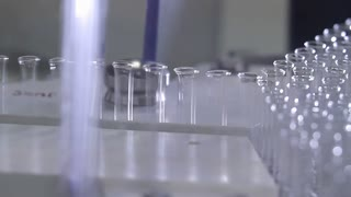 Production of glass ampoules for a vaccine on the modern production equipment.