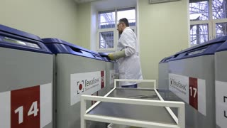 RUSSIA, MOSCOW - 15 SEPT 2017: Storage of stem cells. Geolaboratory.