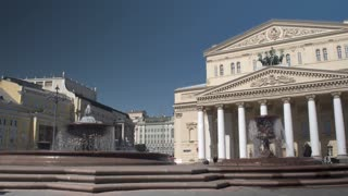 Opera and Ballet. Fountains in front of the Bolshoi theater in Moscow.