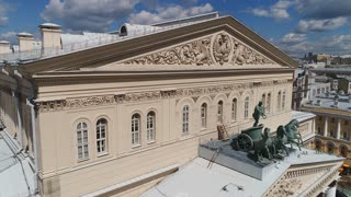 RUSSIA, MOSCOW - 20 JUN 2016: Quadriga on the visor of the Bolshoi theater in Moscow. Close up,тhe view from the top and in the front.