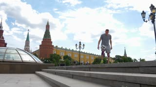 RUSSIA, MOSCOW - 24 may 2018: Professional football player demonstrates excellent technique of possession of the ball on the Manege square in Moscow.