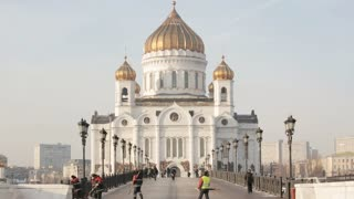 RUSSIA, MOSCOW - 28 DEC 2017: The building of the Temple of Christ the Savior in Moscow.