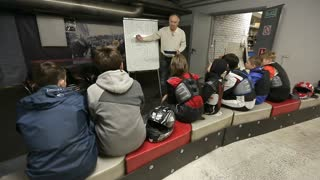 RUSSIA, MOSCOW - 3 JUN 2016: Karting. Theoretical teaching of young people.