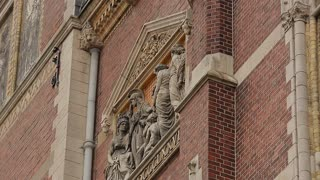 Sculpture and bas-relief compositions of the station building in Amsterdam. Close up.