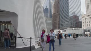 September 911 memorial at the site of a terrorist attack in downtown Manhattan. Dolly panoramic shot