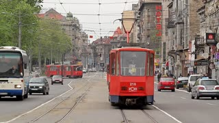 SERBIA, BELGRAD - 11 may 2017: Transport in the streets of modern Belgrade.
