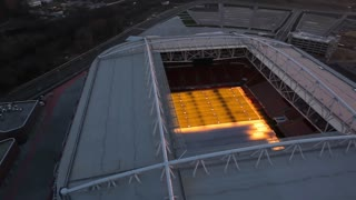 Aerial shooting of stadiums in Moscow before the World Cup. Spartak Otkritie Arena stadium. Unique Aerial drone footage. Fifa 2018