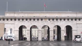 Streets and squares of the city of Vienna. Arc de Triomphe in the old city center of Vienna. Dolly shot.