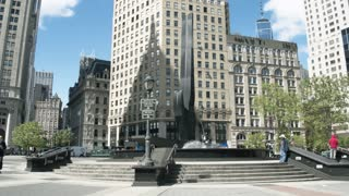 The administrative center of Manhattan. Architectural complexes of New York. Fountain on Foley Square. Dolly shot