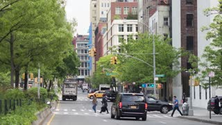 The streets of Manhattan in New York City. Car traffic. Dolly shot
