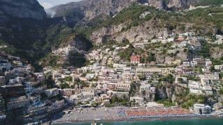 The Tyrrhenian sea. Italy. Coastal village Positano located on the rocks.