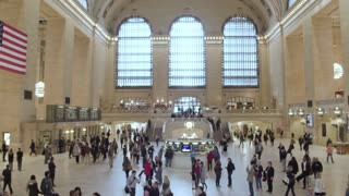Timelapse of Grand Central main hall . The passengers rush to the train.