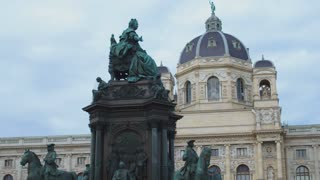 Viennese architecture. Palaces, museums, tourists. Details of memorials. Dolly shot