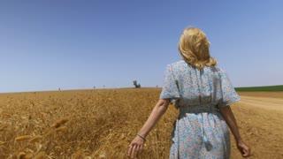 Vintage Dress Female in Wheat Field
