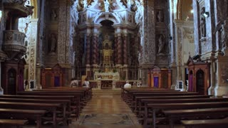 VThe iterior, frescoes and statues inside the Church - Degli Scalzi- in Venice, Italy