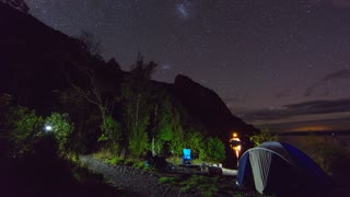 Night Sky Timelapse and Camping Scene